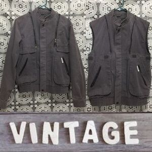 Zip off sleeve 90s grunge jacket turns to vest S